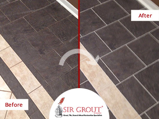 Before and After Picture of a Grout Cleaning in Sugar Land, Texas