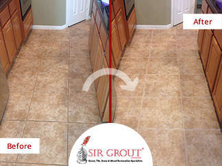 Before and After Picture of a Grout Cleaning Service in Katy, TX