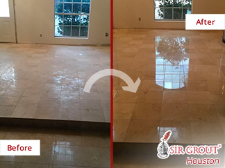 Look How This Marble Floor Ruined by Hurricane Harvey Was Renewed after a Stone Polishing Job Done in Houston, Texas