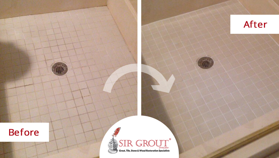 Regrouting And Caulking Do Wonders To Year Old Shower In Houston - Can tile be regrouted