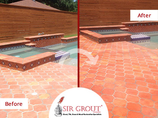 This Saltillo Tile Pool Deck in Houston Was Treated with a Stone Sealing Service to Prevent Damage