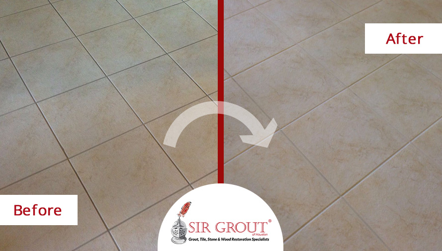 Before And After Pictures of a Complete Grout Sealing in A Texas Floor