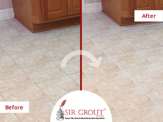 Before & After Picture of a Grout Cleaning in Sugarland, Texas