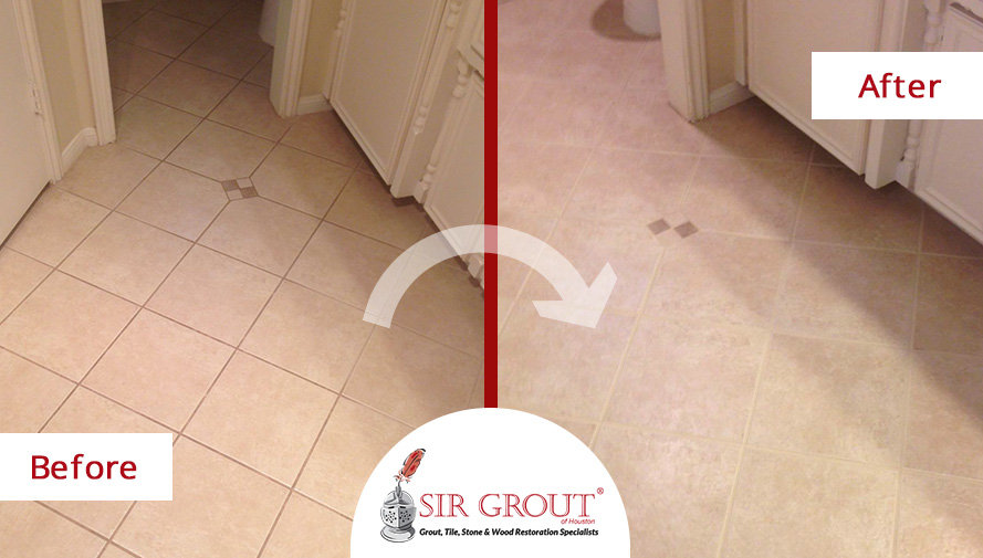 Before and After Picture of a Grout Cleaning and Sealing in Spring, Texas