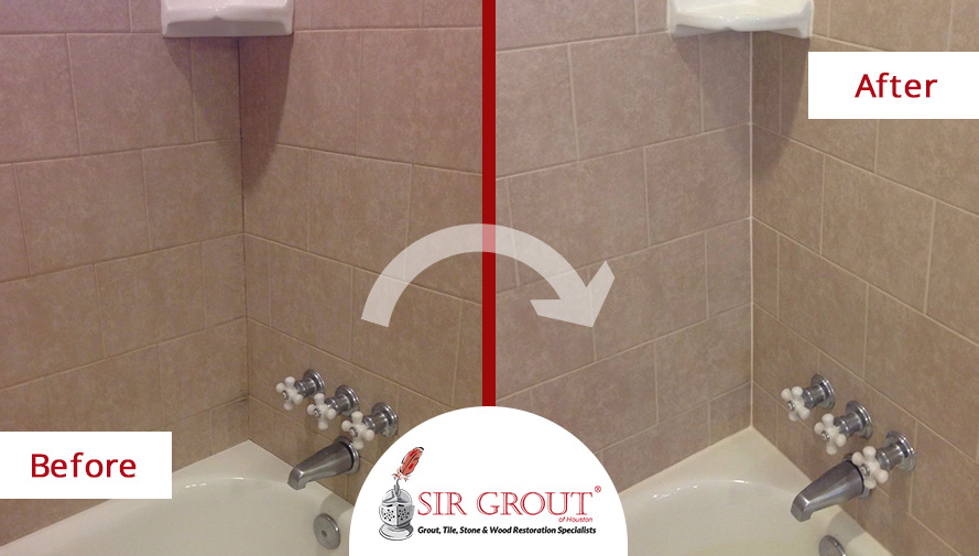 Before and After Picture of a Grout Cleaning and Sealing Service in Spring, Texas