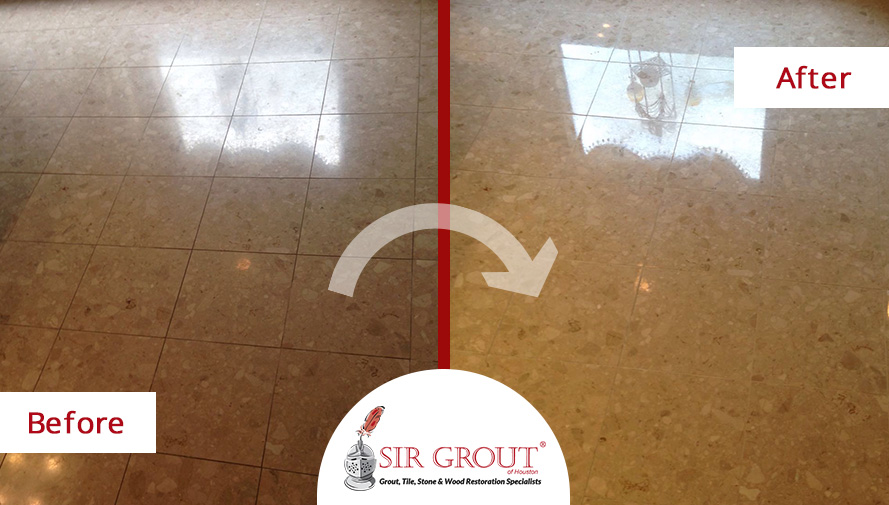 Before and After Picture of a Stone Polishing in Houston, Texas