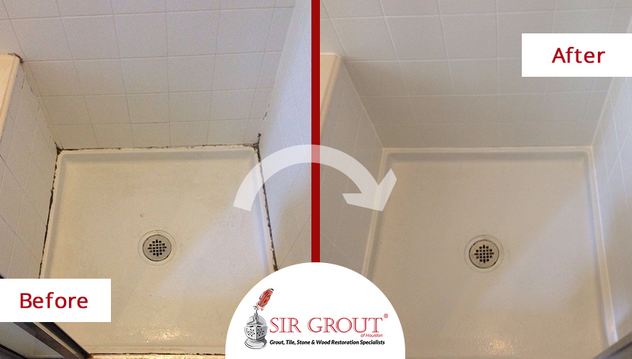 Before and After Picture of a Caulking Service in Houston, Texas