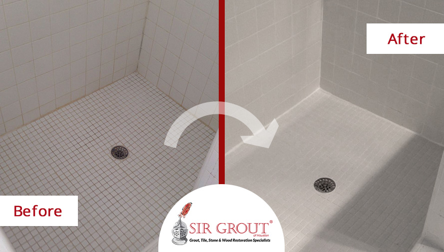 Before and After Picture of a Grout Sealing Service in Katy, Texas