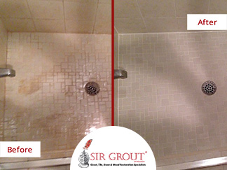 Before and After Picture of a Grout Cleaning Service in Sugar Land, TX