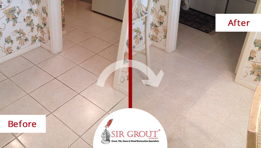 Before and After Picture of a Grout Cleaning in Sugar Land
