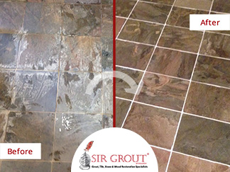Before and After Picture of a Stone Cleaning Service in Houston, Texas
