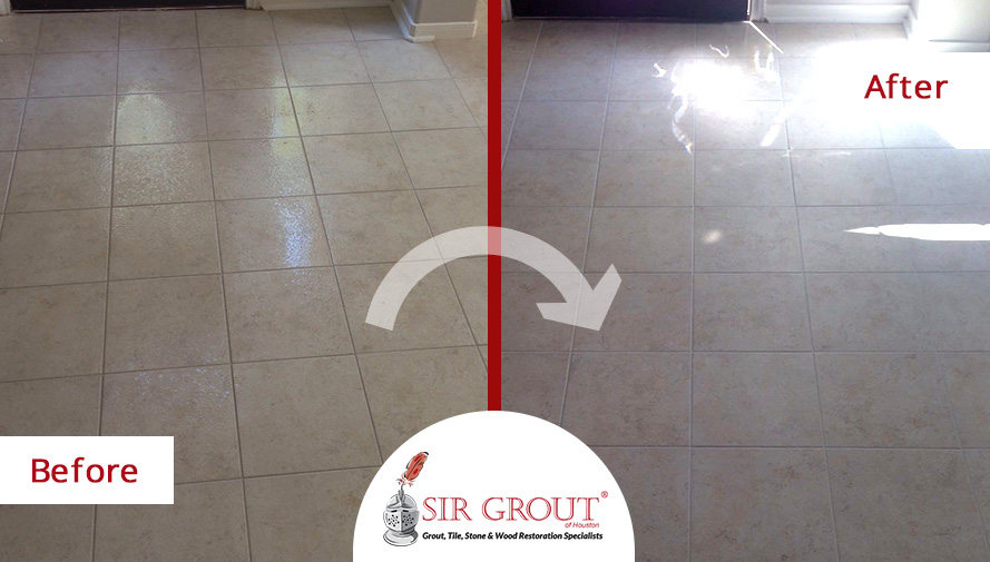Before and After Picture of a Grout Sealing in Houston, TX