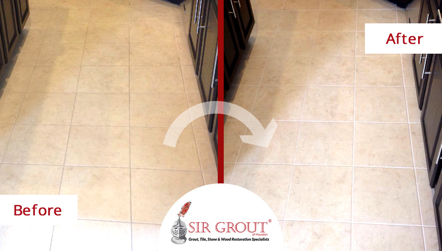 Before and After Picture of a Grout Sealing in Houston, Texas