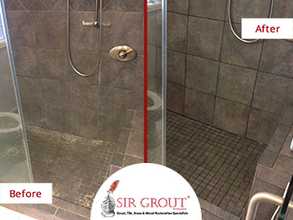 Before and After Picture of a Grout Cleaning in Magnolia, TX