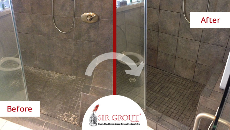 Before and After of a Grout Cleaning Service in Magnolia, Texas