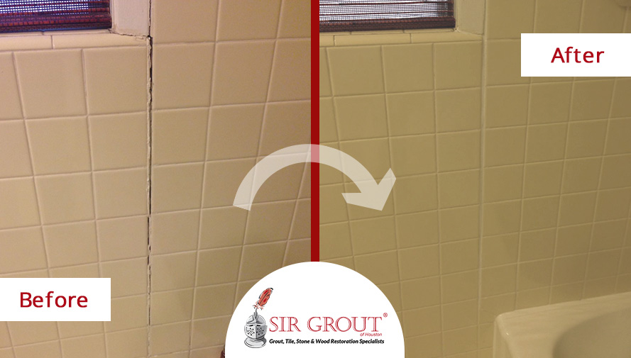 Before and After of a Grout Repair Service in Magnolia, Texas