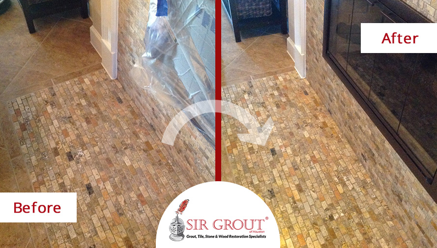 Before and After Picture of a Stone Sealing Job in Houston, Texas