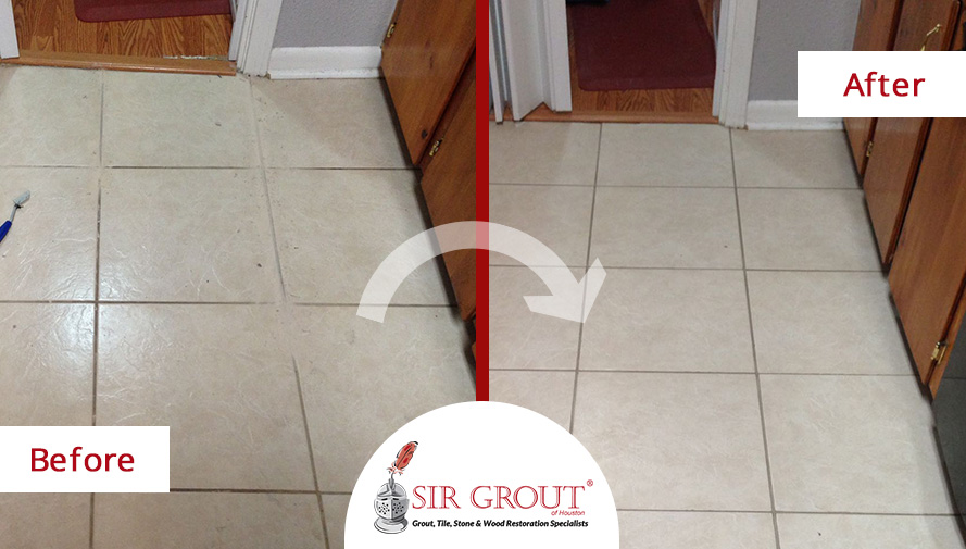 Before and After Picture of a Floor Grout Recoloring Service in Hitchcock, TX