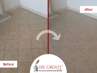 Before and After Picture of Dirty Grout in Houston, Texas