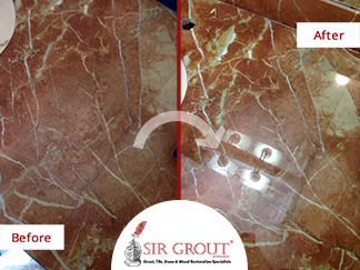 Before and After Picture of a Countertop Stone Honing Service in Houston, TX