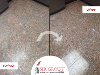 Before and After Picture of a Stone Floor Polishing Service in Houston, TX