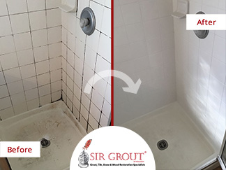 Before and After Picture of a Shower Grout Cleaning Service in Houston, TX