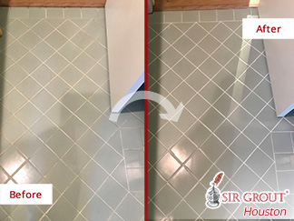 Before and after Image of How a Grout Sealing Service Gave This Bathroom Floor in Houston, Tx, Its Shine Back