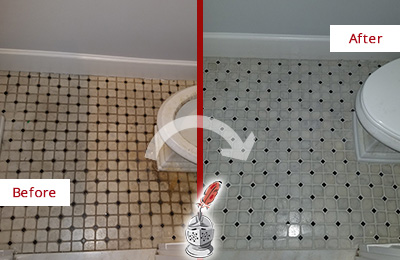 Before and After Picture of a Restroom Floor Cleaned and Sealed to Remove Stains