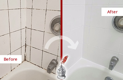 Before and After Picture of a Missouri City Shower Tile and Grout Cleaned to Eliminate Mold