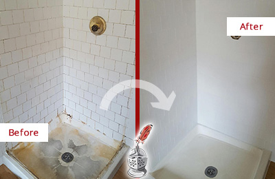 Before and After Picture of a Missouri City Shower Tile and Grout Cleaned to Remove Soap Scum