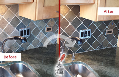 Before and After Picture of a Magnolia Backsplash Caulked to Fix and Prevent Water Leaks