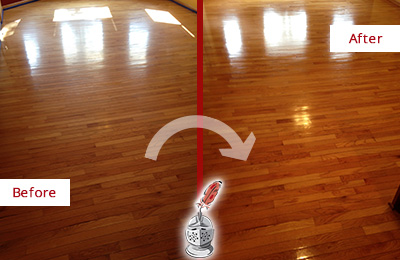 Before and After Picture of a Dickinson Wood Sandless Refinishing Service on a Room Floor to Remove Scratches