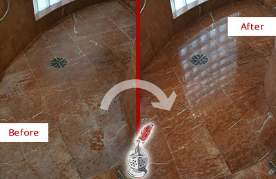 Before and After Picture of a Bacliff Marble Stone Shower Polished to Eliminate Mineral Deposits