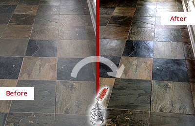 Before and After Picture of a Dull Galveston Slate Floor Sealed to Bring Back Its Colors