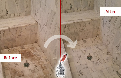 Before and After Picture of a Dirty Orchard Marble Shower Cleaned to Eliminate Dark Stains