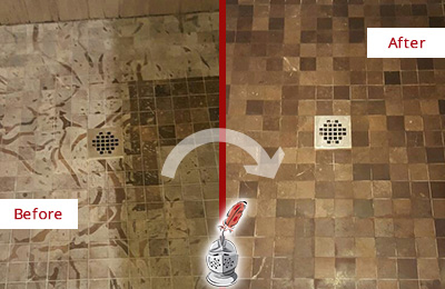 Before and After Picture of a Stained Orchard Marble Shower Floor Cleaned to Remove Etching