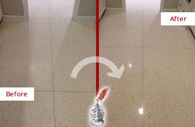 Before and After Picture of a Guy Granite Floor Sealed for Stone Protection