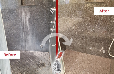 Before and After Picture of a Guy Granite Shower Stone Sealed to Avoid Mineral Deposits