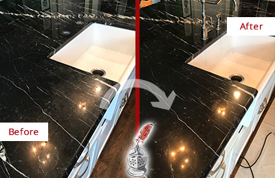 Before and After Picture of a Guy Marble Kitchen Countertop Stone Sealed to Avoid Water Damage