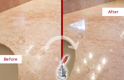 Before and After Picture of a Guy Marble Stone Vanity Top Sealed to Avoid Water Marks