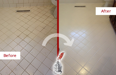 Before and After Picture of a High Island White Bathroom Floor Grout Sealed for Extra Protection