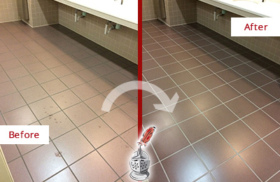 Before and After Picture of Dirty High Island Office Restroom with Sealed Grout