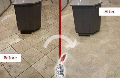 Before and After Picture of a High Island Kitchen Floor Grout Sealed to Remove Stains