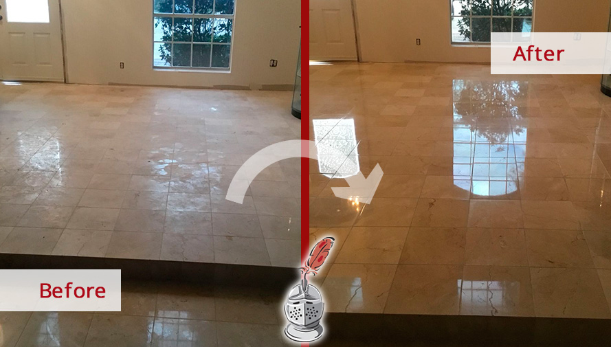 Before and after of This Marble Floor Ruined by Hurricane Harvey and Renewed after a Stone Polishing Job Done in Houston, Texas