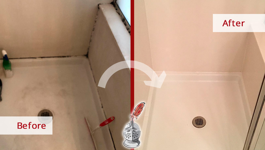 Before and after of This Shower Now Free of Dirt Thabks to a Professional Caulking Job Performed in Houston, Texas