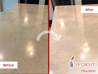 Before and After Picture of a Countertop Stone Polishing Process in Houston, Tx