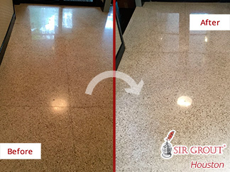 Before and After Picture of a Floor Stone Polishing Process in Houston, Tx
