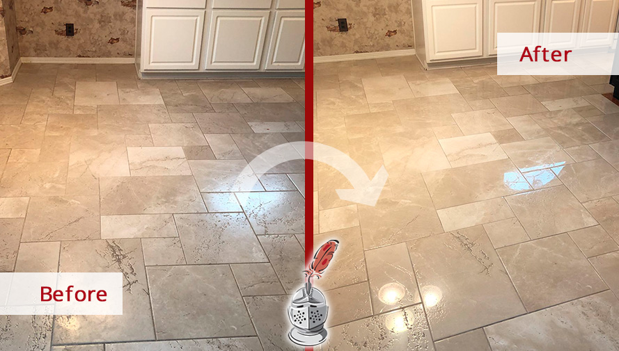 Before and After Picture of a Floor Stone Polishing Job in Houston, Tx