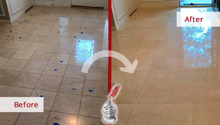 Before and after Picture of These Surfaces Restored after a Stone Polishing Job in Houston