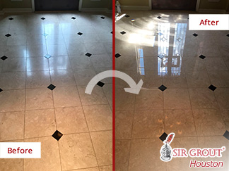 Before and after Picture of This Floor after a Stone Polishing Job in Houston